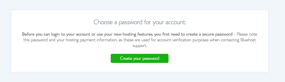 set up a bluehost hosting account password