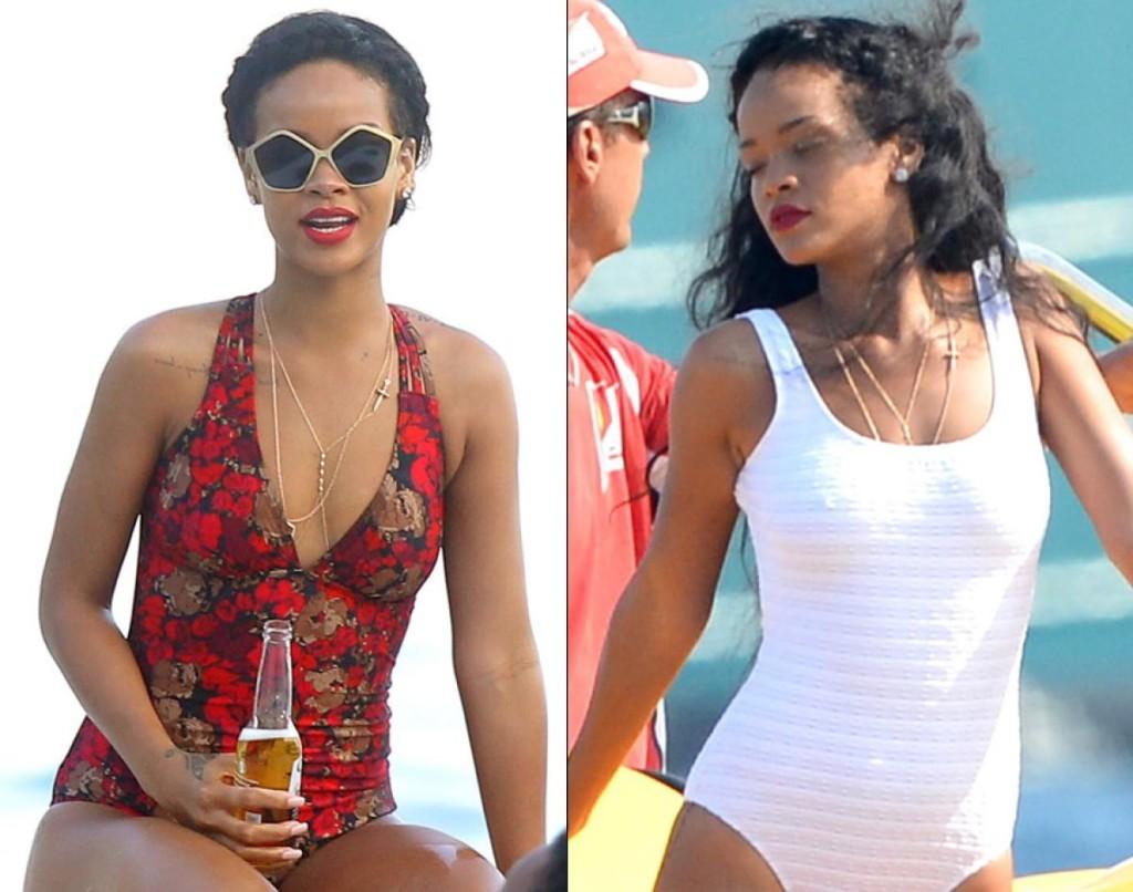 Rihanna in One piece swimsuit