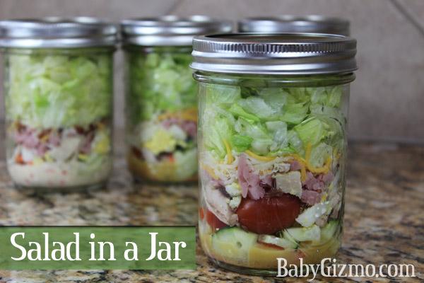 Chef Salad in Mason Jar