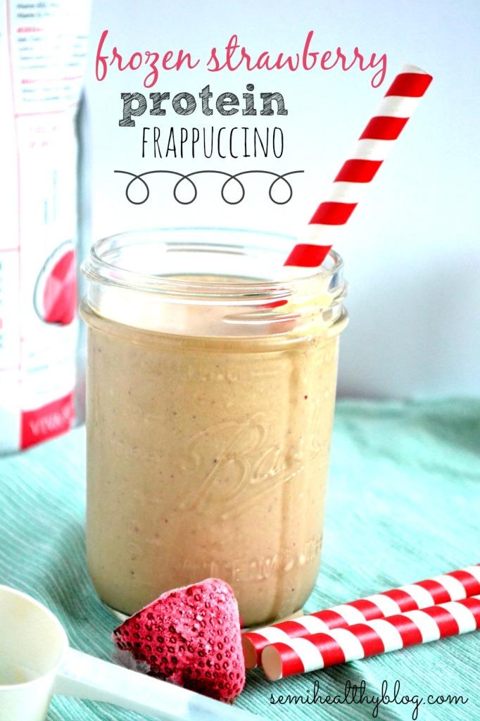 frozen strawberry protein frappuccino in a mason jar