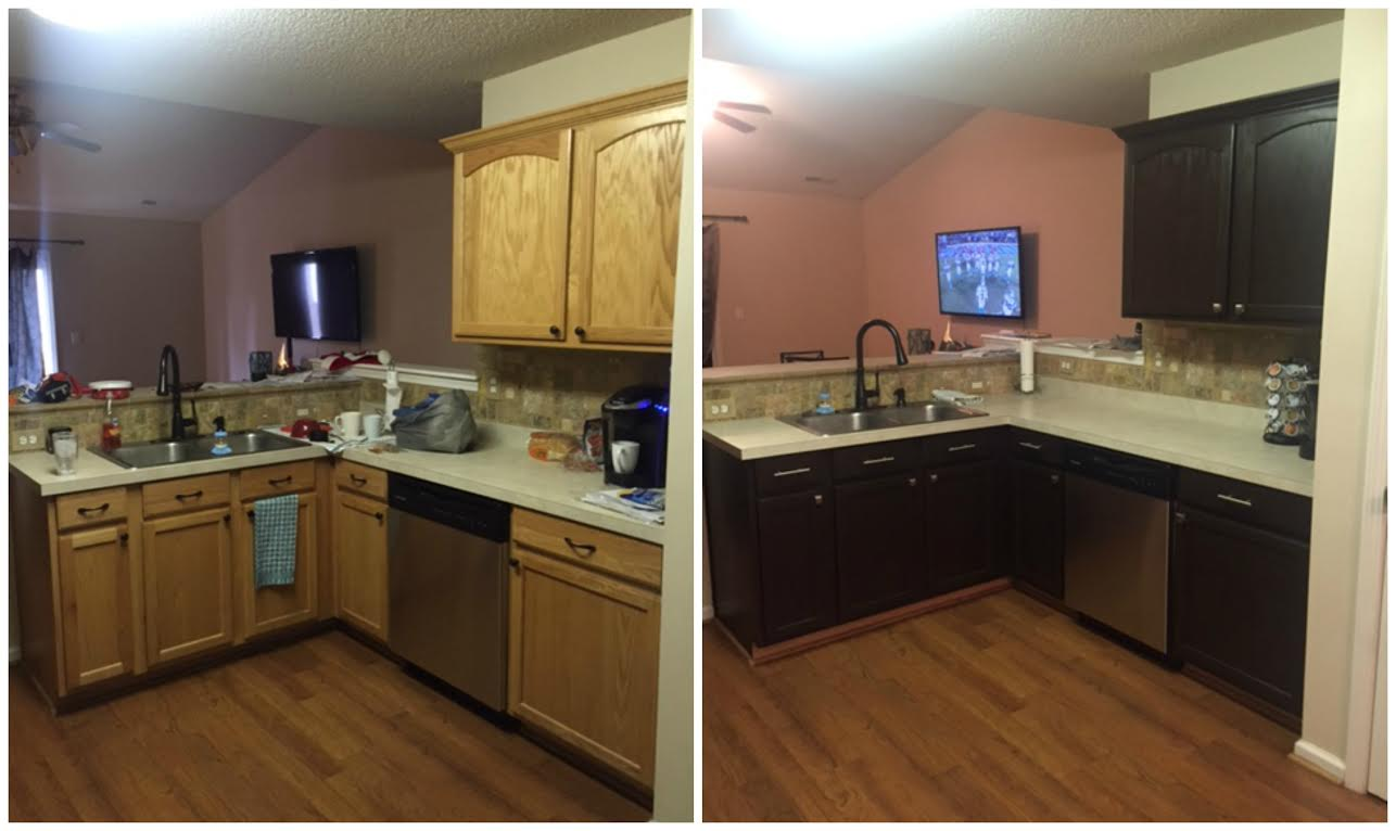 Interior Paint Kitchen Cabinets Before And After diy painting kitchen cabinets before and after pics paiting rustoleum expresso kit 2 espresso
