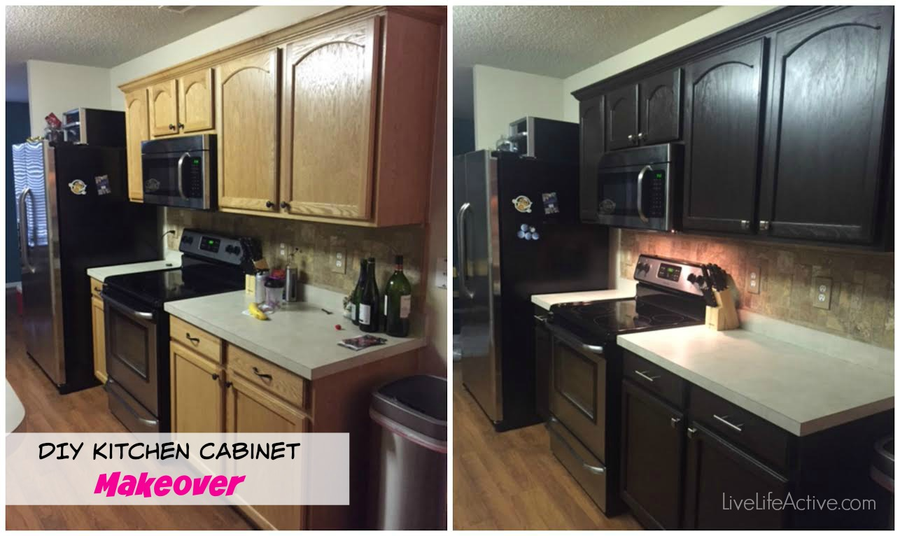 DIY Paiting kitchen cabinets rustoleum expresso kit before and after picture espresso