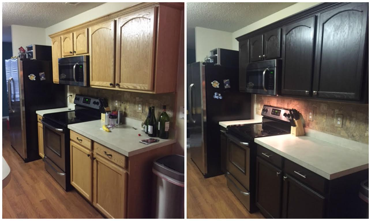 Diy painting kitchen cabinets before and after pics for Who paints kitchen cabinets